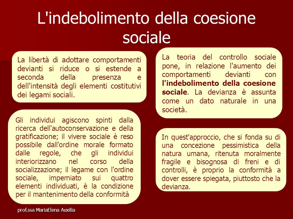 L indebolimento della coesione sociale