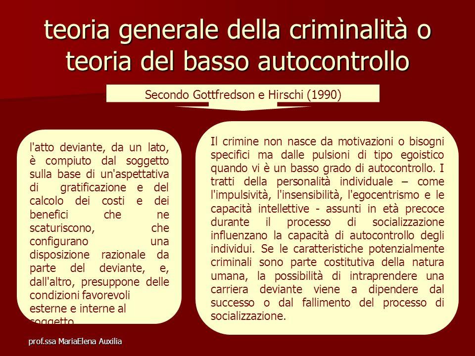 teoria generale della criminalità o teoria del basso autocontrollo
