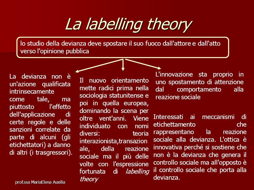La labelling theory lo studio della devianza deve spostare il suo fuoco dall attore e dall atto verso l opinione pubblica.