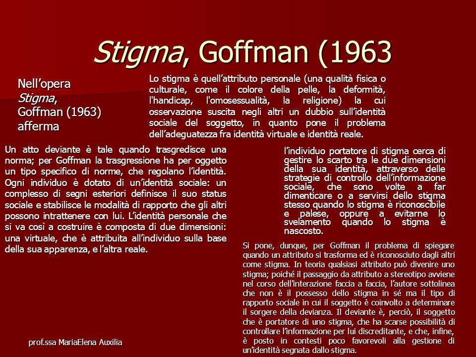 Stigma, Goffman (1963 Nell'opera Stigma, Goffman (1963) afferma
