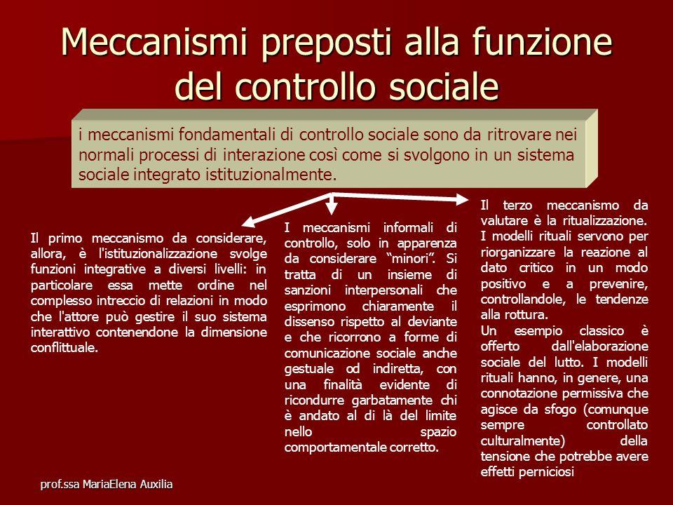Meccanismi preposti alla funzione del controllo sociale