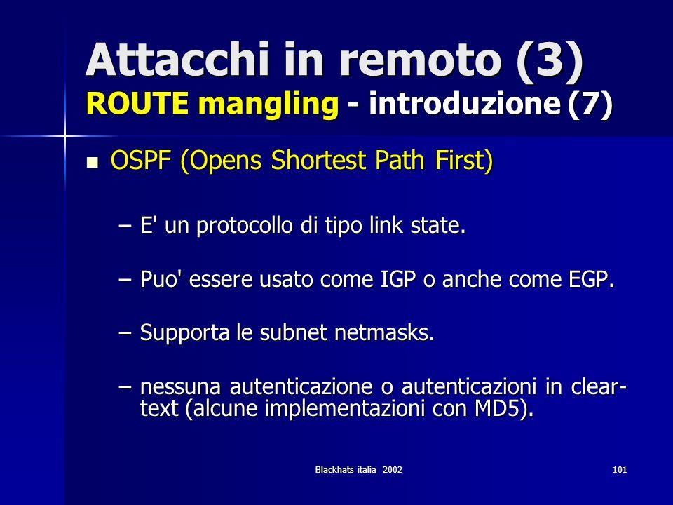 Attacchi in remoto (3) ROUTE mangling - introduzione (7)