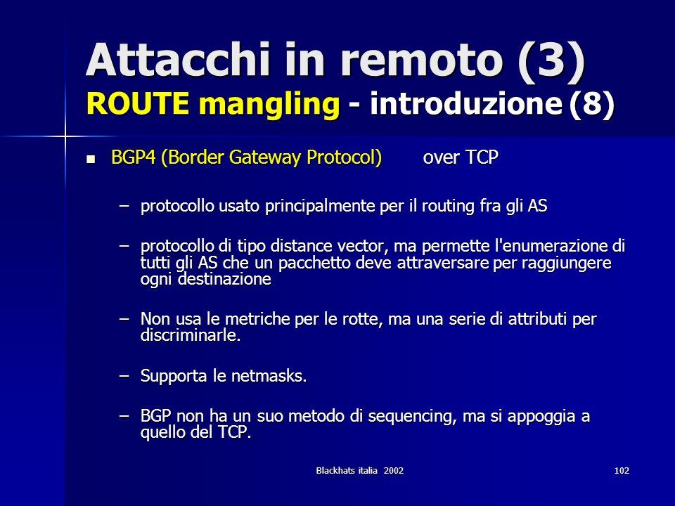 Attacchi in remoto (3) ROUTE mangling - introduzione (8)