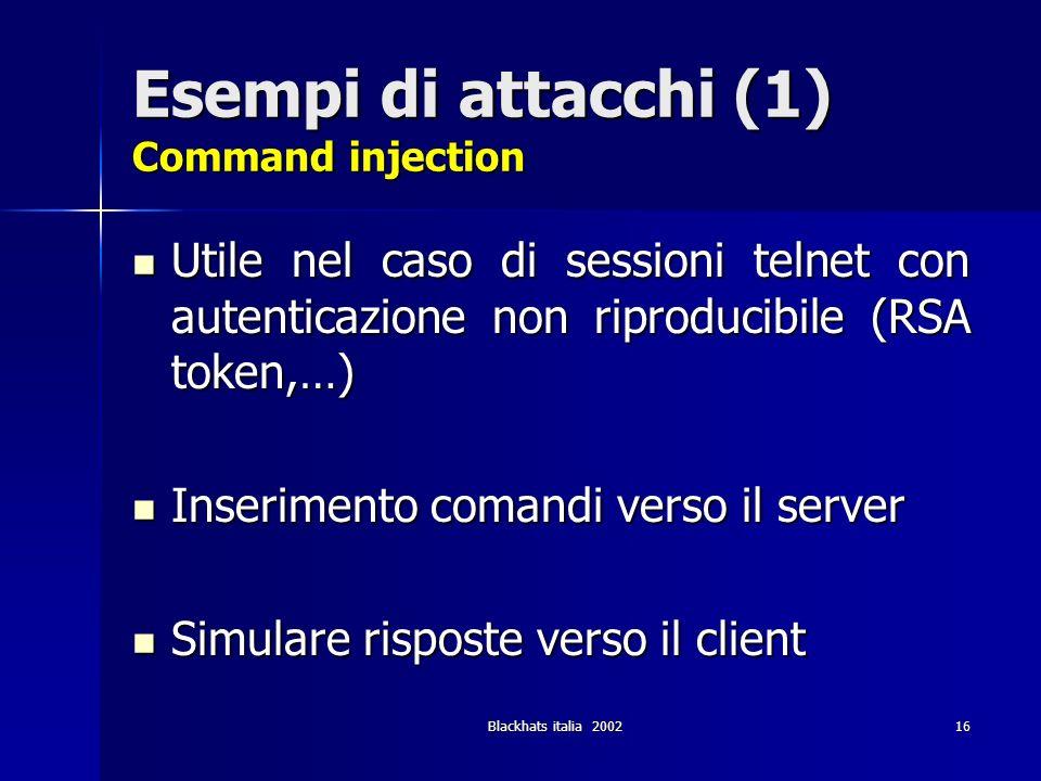 Esempi di attacchi (1) Command injection