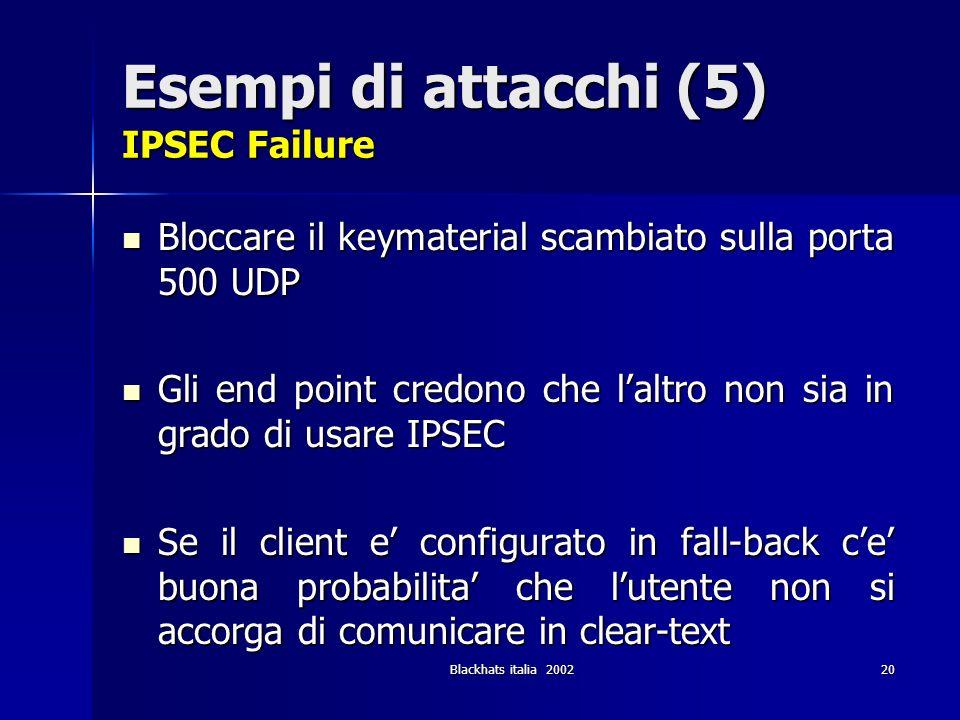 Esempi di attacchi (5) IPSEC Failure