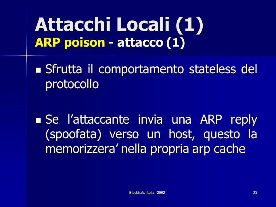 Attacchi Locali (1) ARP poison - attacco (1)