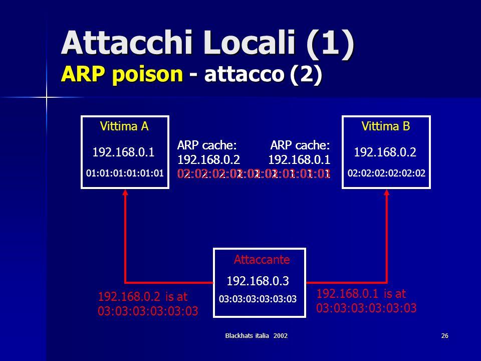 Attacchi Locali (1) ARP poison - attacco (2)