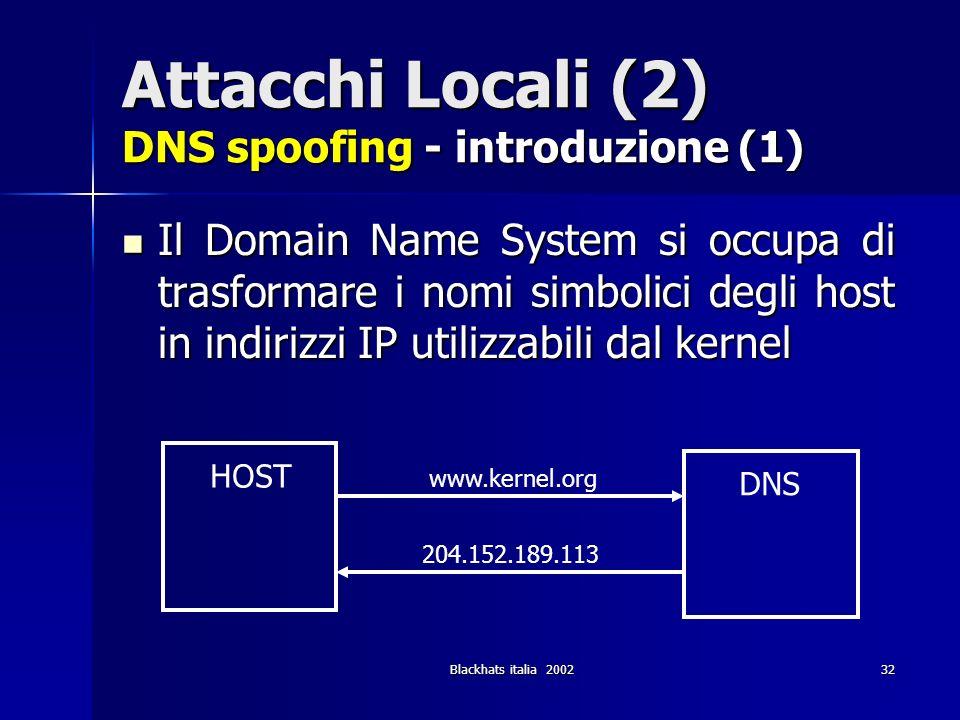 Attacchi Locali (2) DNS spoofing - introduzione (1)