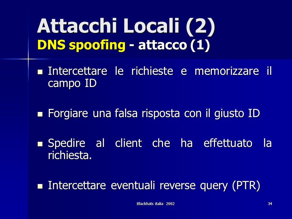 Attacchi Locali (2) DNS spoofing - attacco (1)