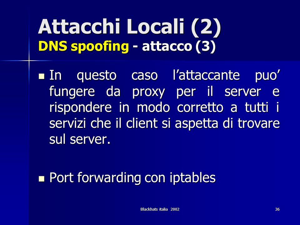Attacchi Locali (2) DNS spoofing - attacco (3)