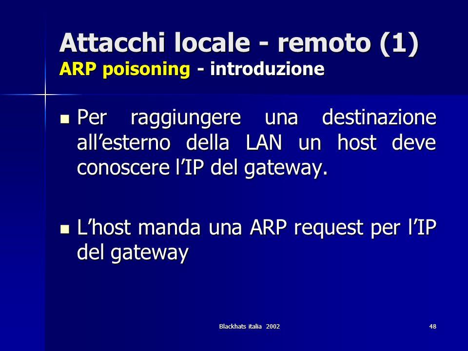 Attacchi locale - remoto (1) ARP poisoning - introduzione
