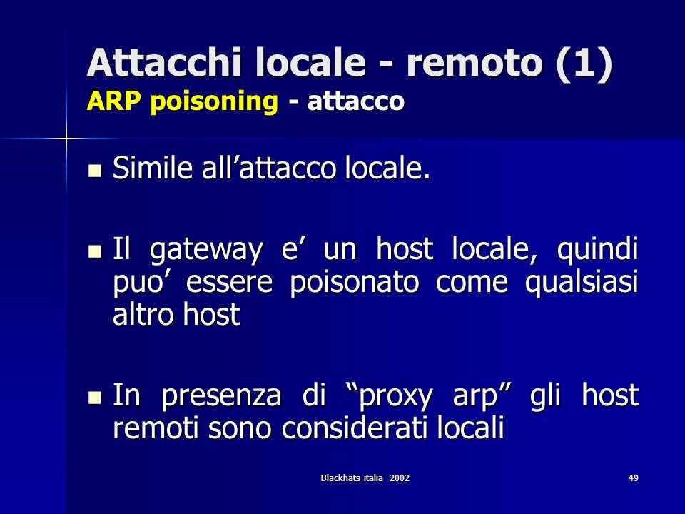 Attacchi locale - remoto (1) ARP poisoning - attacco