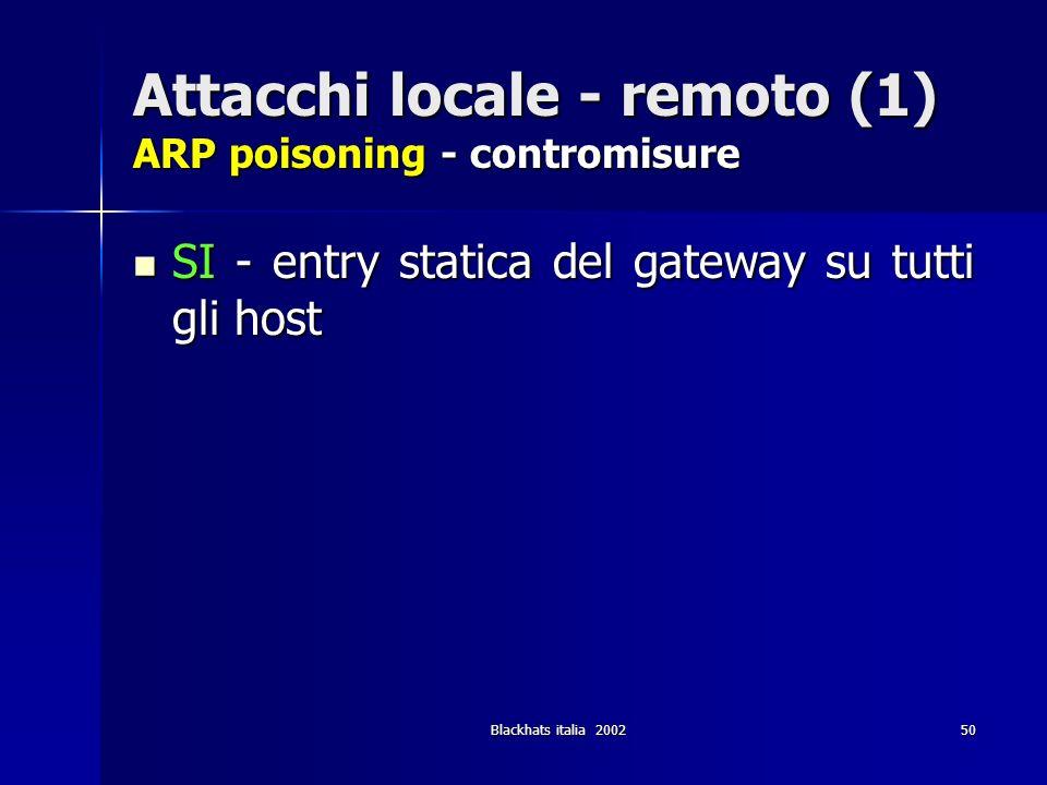 Attacchi locale - remoto (1) ARP poisoning - contromisure