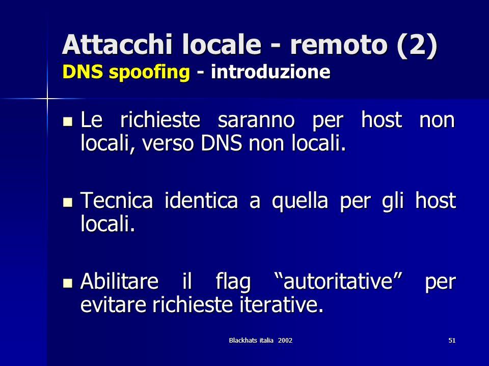 Attacchi locale - remoto (2) DNS spoofing - introduzione
