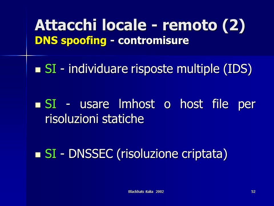Attacchi locale - remoto (2) DNS spoofing - contromisure