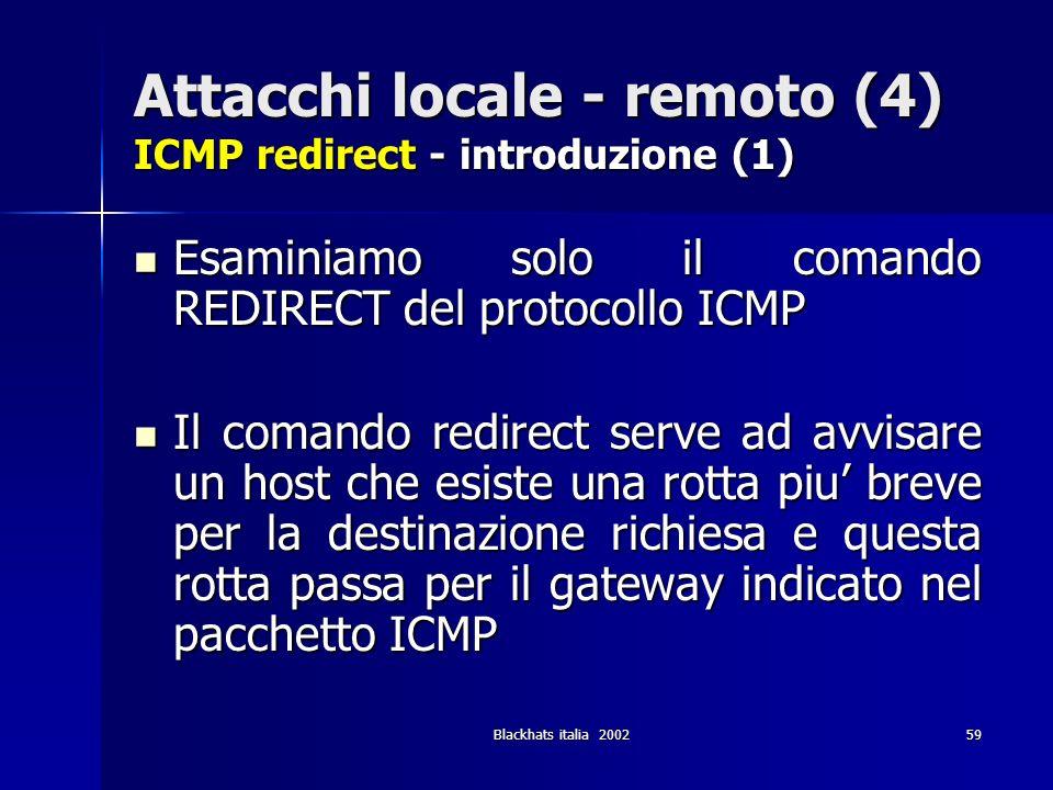 Attacchi locale - remoto (4) ICMP redirect - introduzione (1)