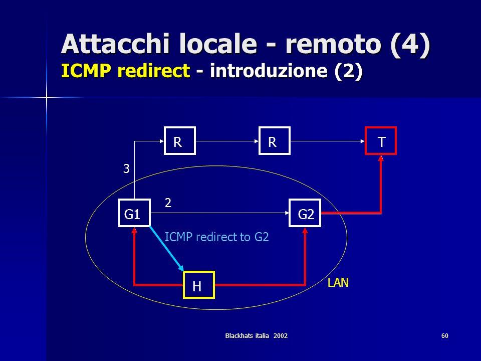 Attacchi locale - remoto (4) ICMP redirect - introduzione (2)