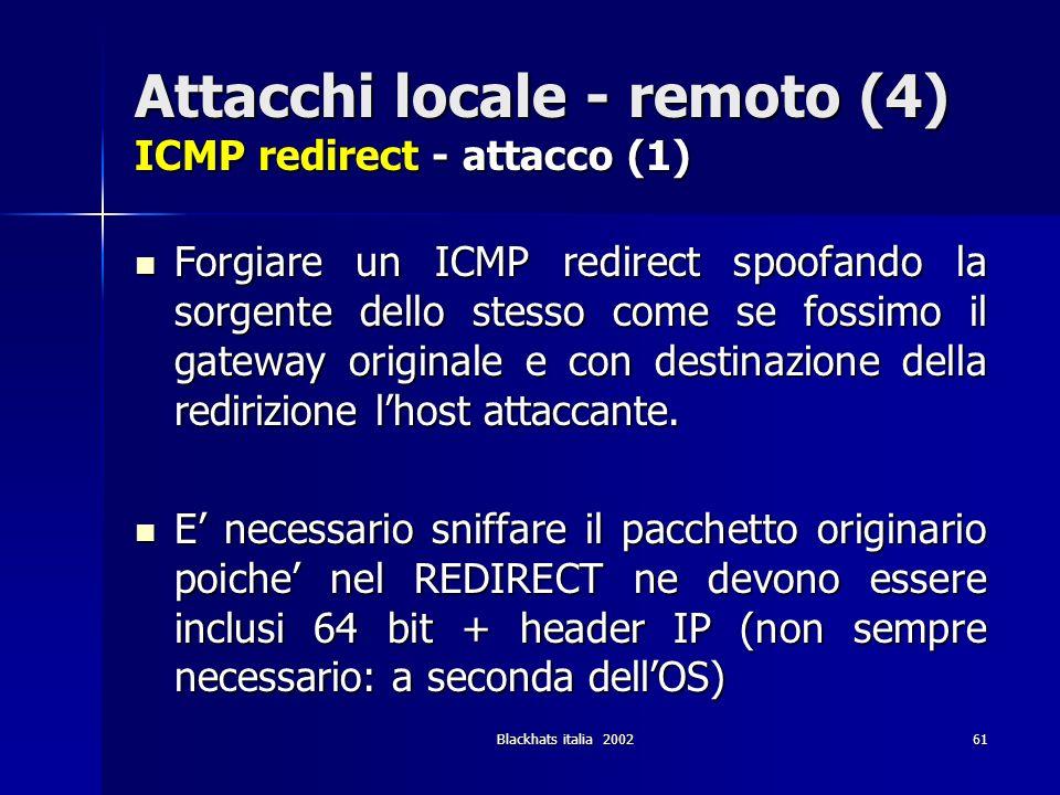 Attacchi locale - remoto (4) ICMP redirect - attacco (1)