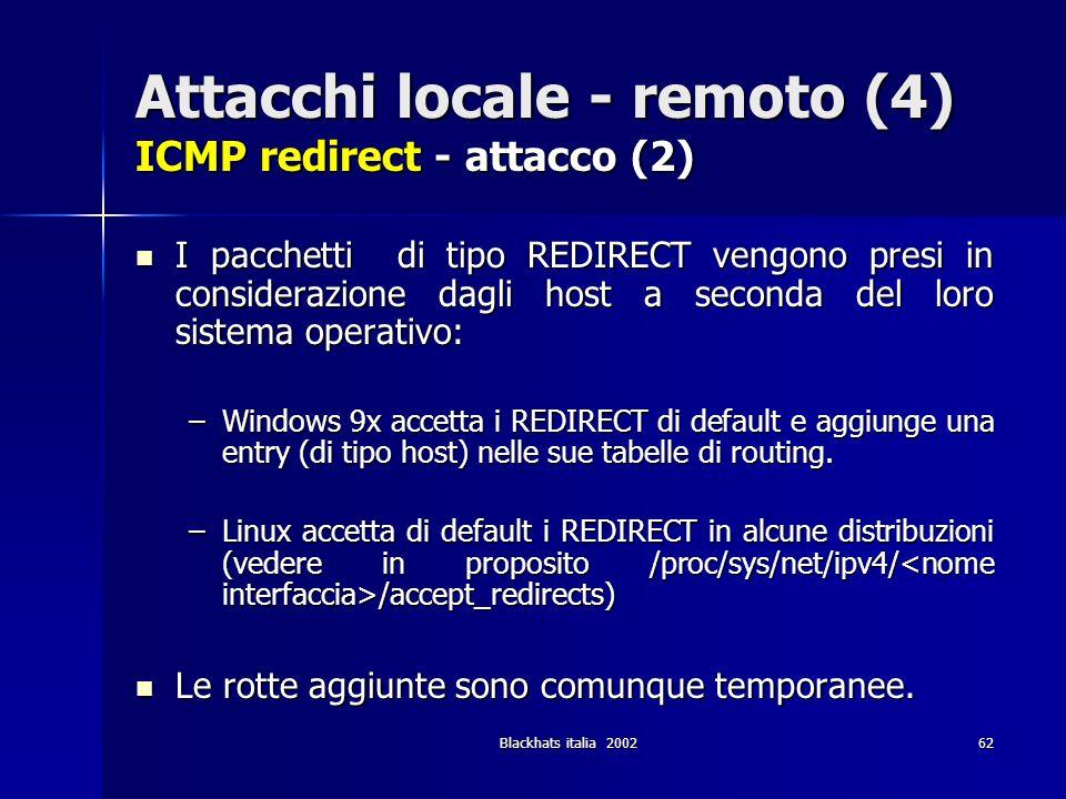 Attacchi locale - remoto (4) ICMP redirect - attacco (2)