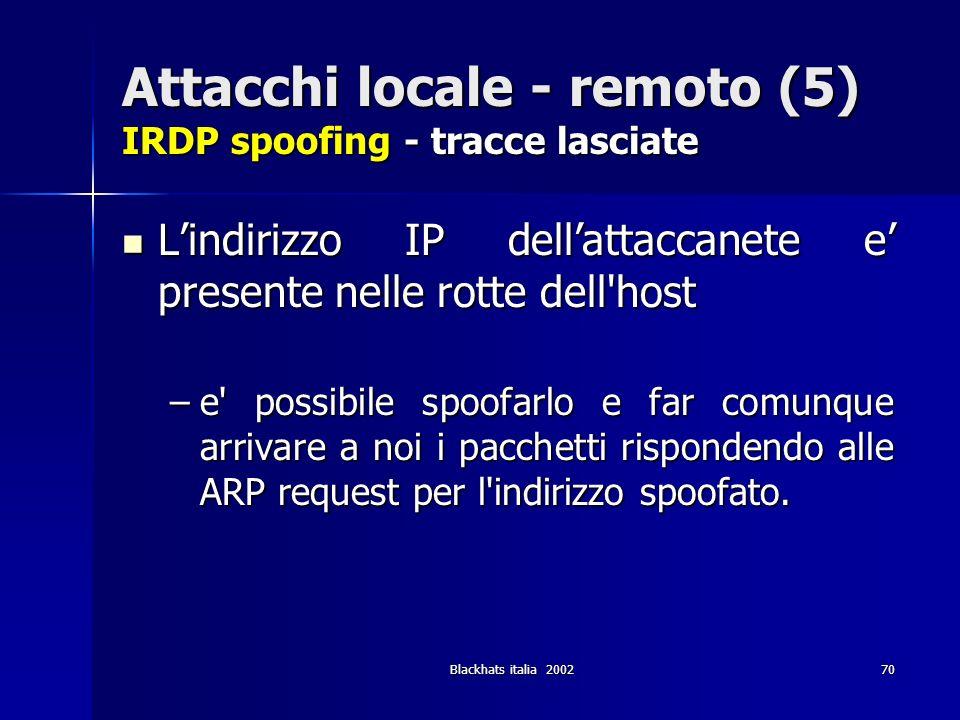 Attacchi locale - remoto (5) IRDP spoofing - tracce lasciate