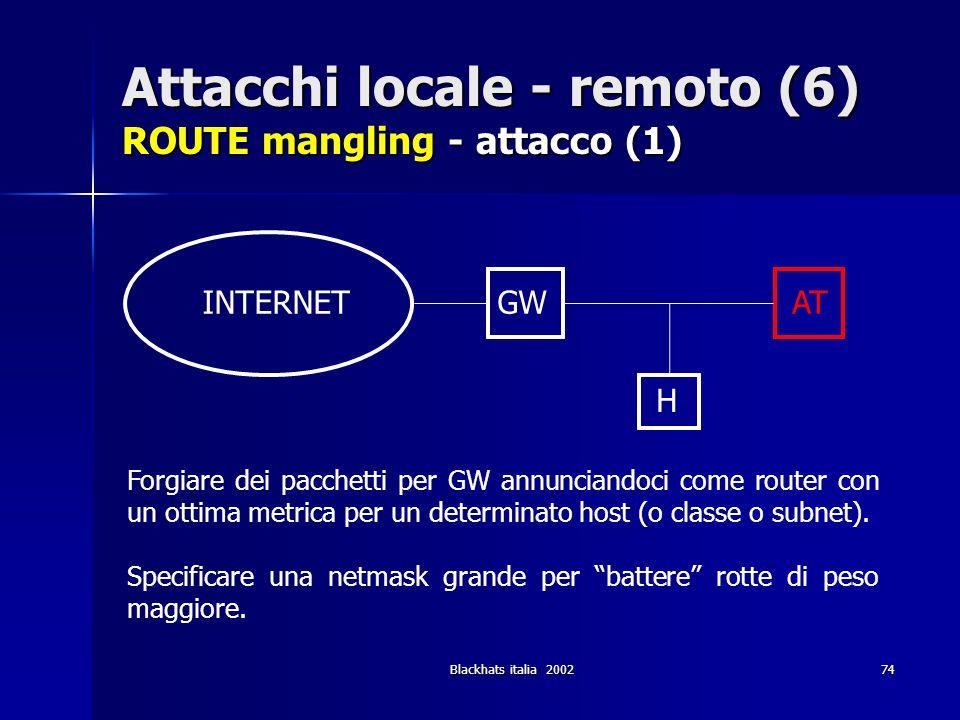 Attacchi locale - remoto (6) ROUTE mangling - attacco (1)