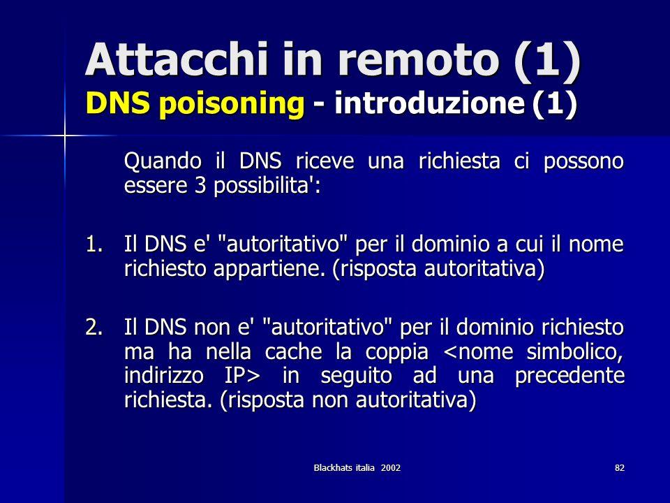 Attacchi in remoto (1) DNS poisoning - introduzione (1)