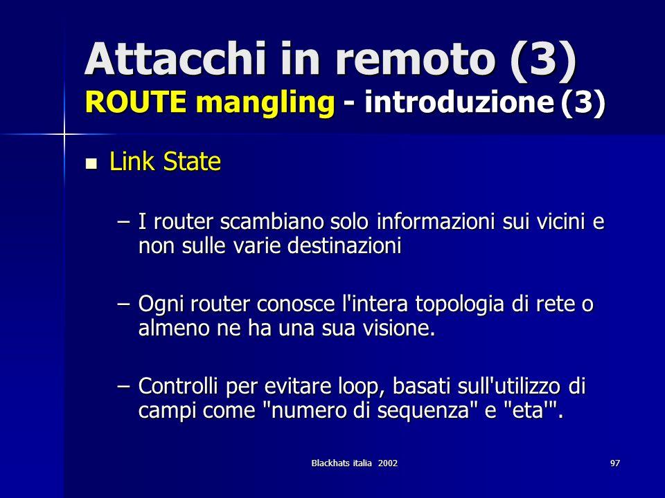 Attacchi in remoto (3) ROUTE mangling - introduzione (3)