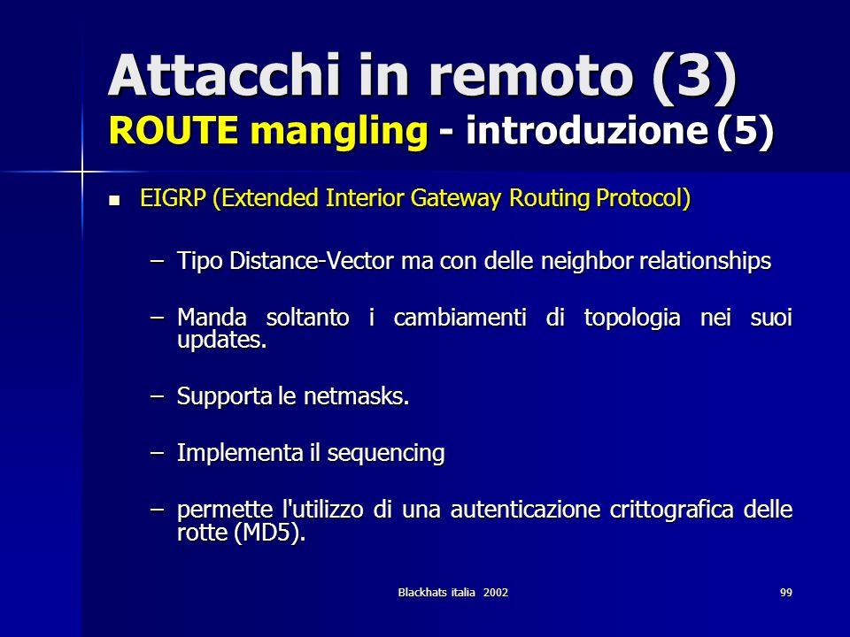 Attacchi in remoto (3) ROUTE mangling - introduzione (5)