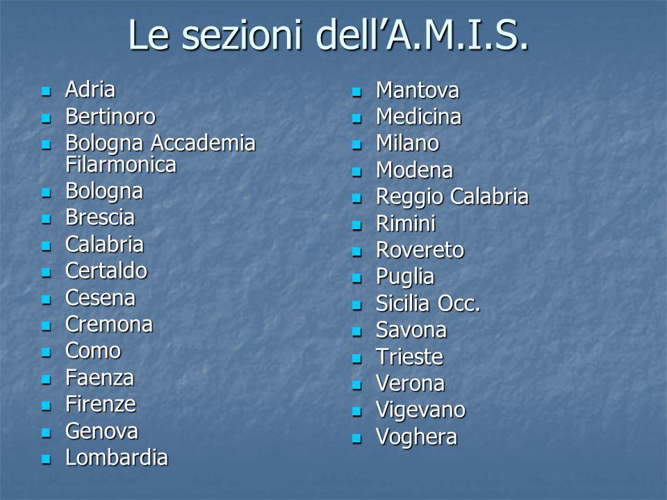 Le sezioni dell'A.M.I.S. Mantova Medicina Milano Modena