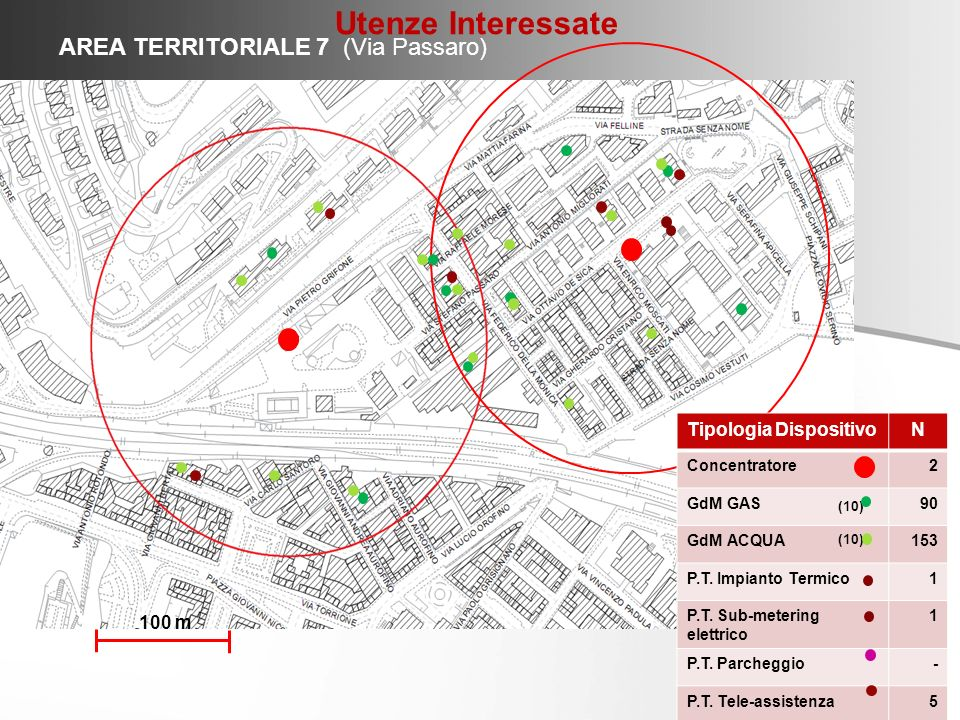 Utenze Interessate AREA TERRITORIALE 7 (Via Passaro)