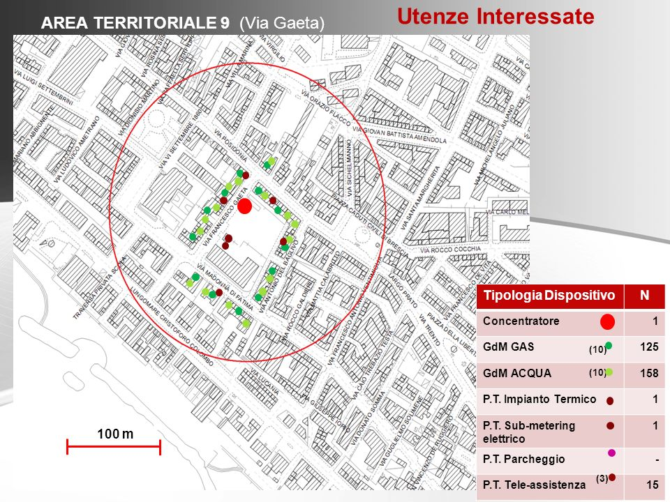 Utenze Interessate AREA TERRITORIALE 9 (Via Gaeta)