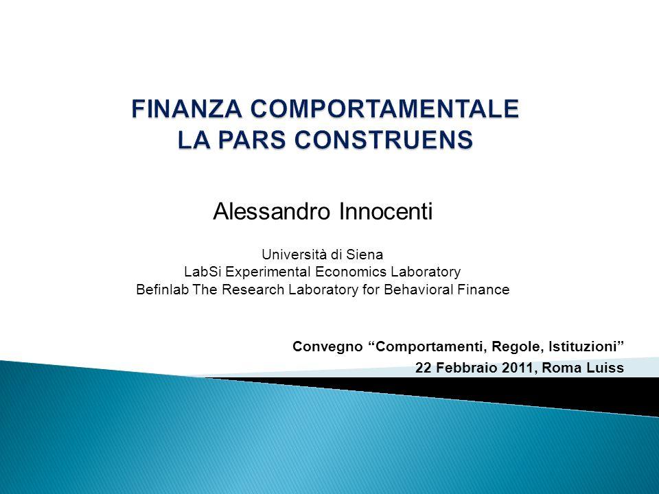 FINANZA COMPORTAMENTALE LA PARS CONSTRUENS