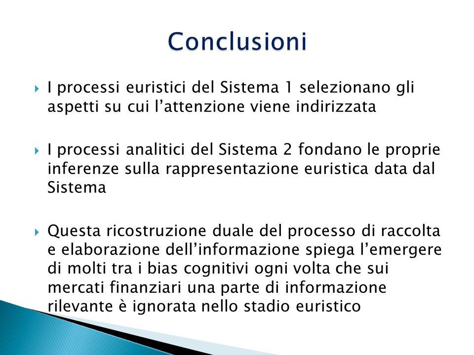 Conclusioni I processi euristici del Sistema 1 selezionano gli aspetti su cui l'attenzione viene indirizzata.