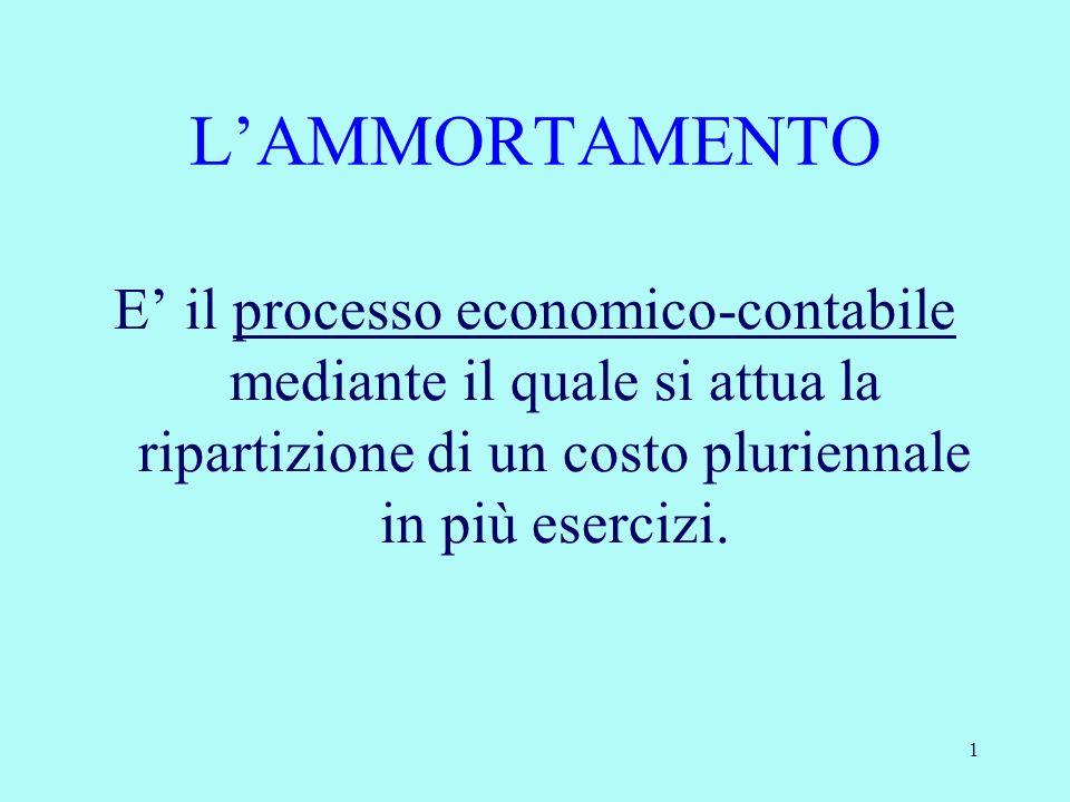 L'AMMORTAMENTO E' il processo economico-contabile mediante il quale si attua la ripartizione di un costo pluriennale in più esercizi.