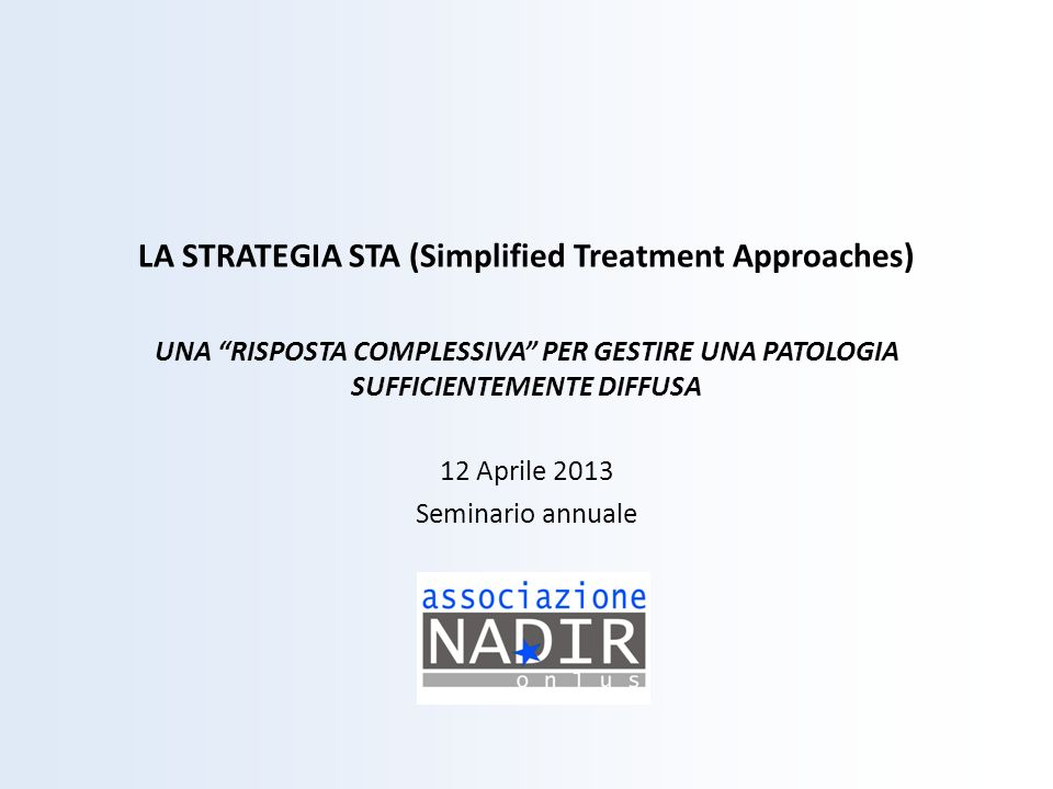 LA STRATEGIA STA (Simplified Treatment Approaches)