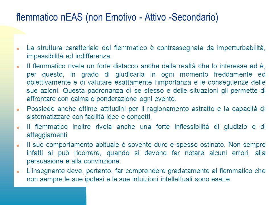 flemmatico nEAS (non Emotivo - Attivo -Secondario)