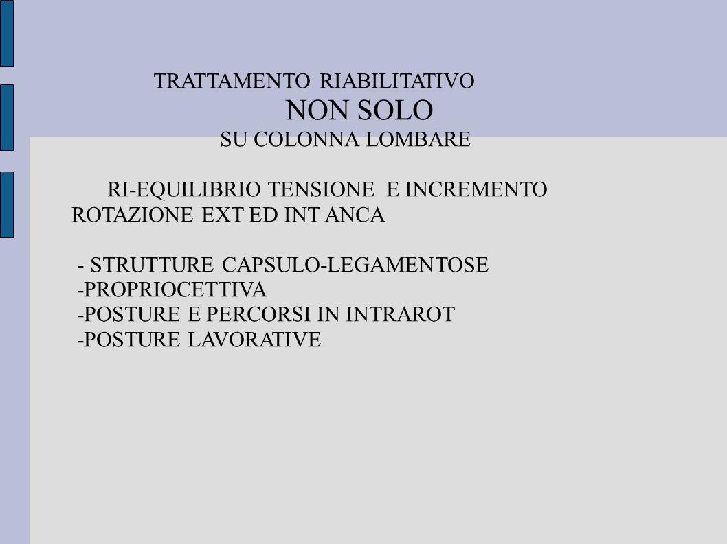 TRATTAMENTO RIABILITATIVO NON SOLO SU COLONNA LOMBARE