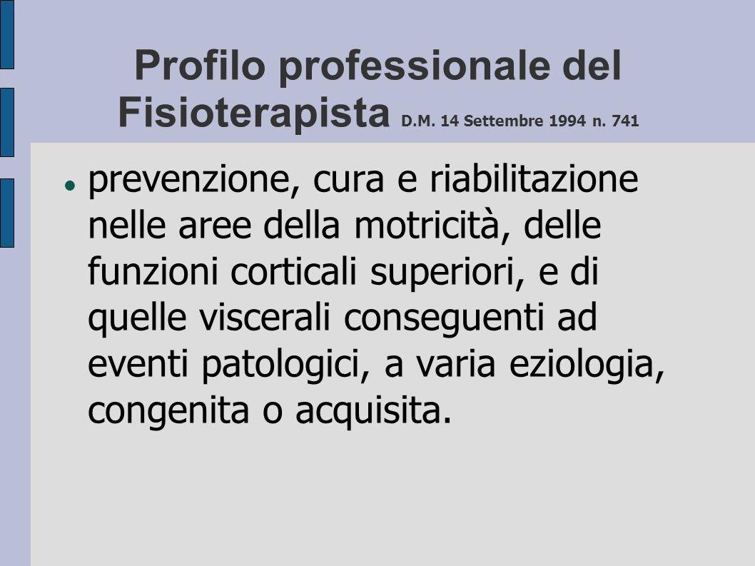 Profilo professionale del Fisioterapista D.M. 14 Settembre 1994 n. 741