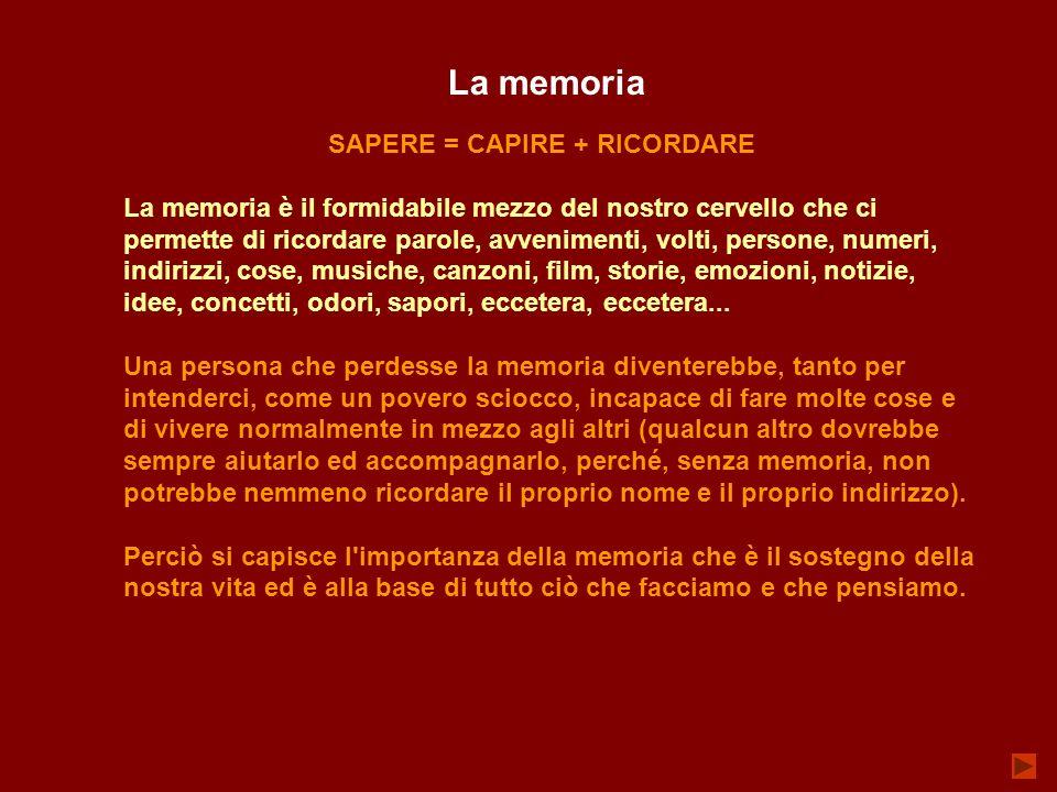 SAPERE = CAPIRE + RICORDARE