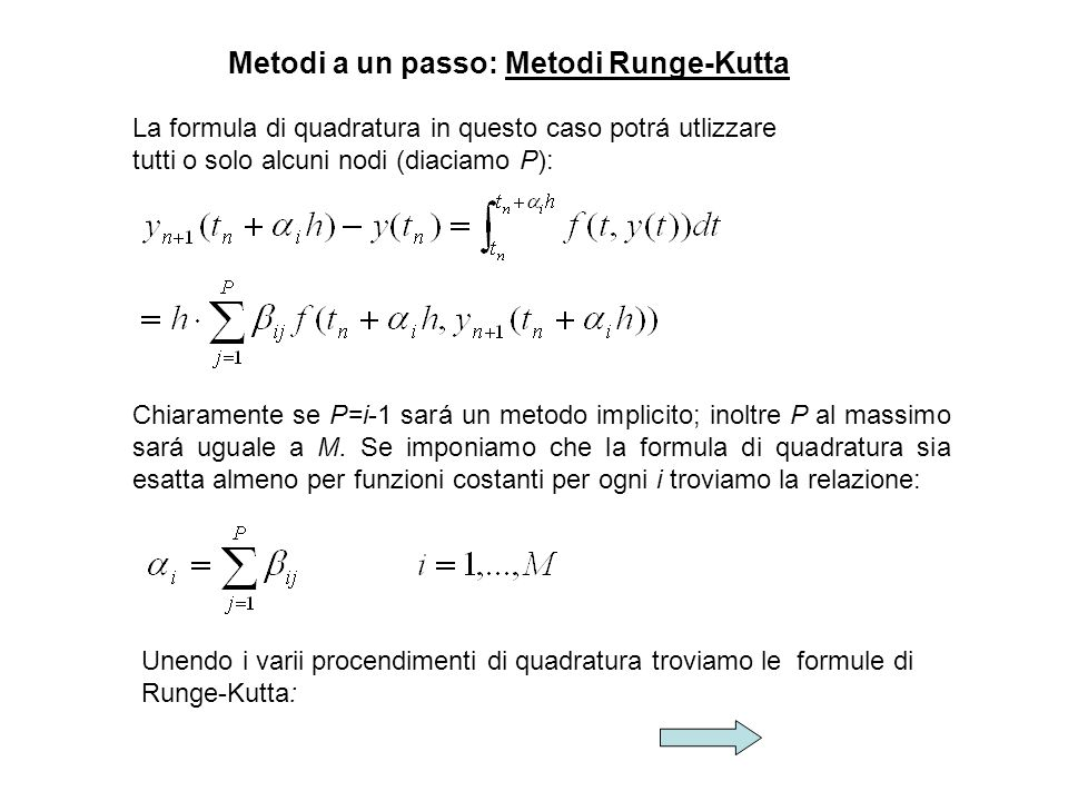 Metodi a un passo: Metodi Runge-Kutta