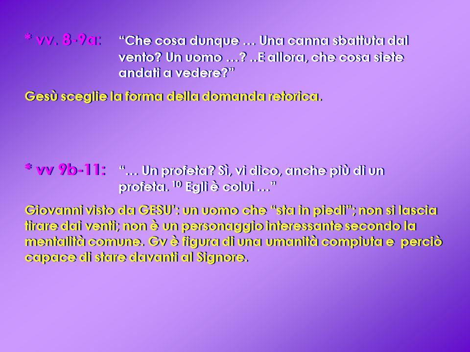 vv. 8-9a:. Che cosa dunque … Una canna sbattuta dal. vento. Un uomo …