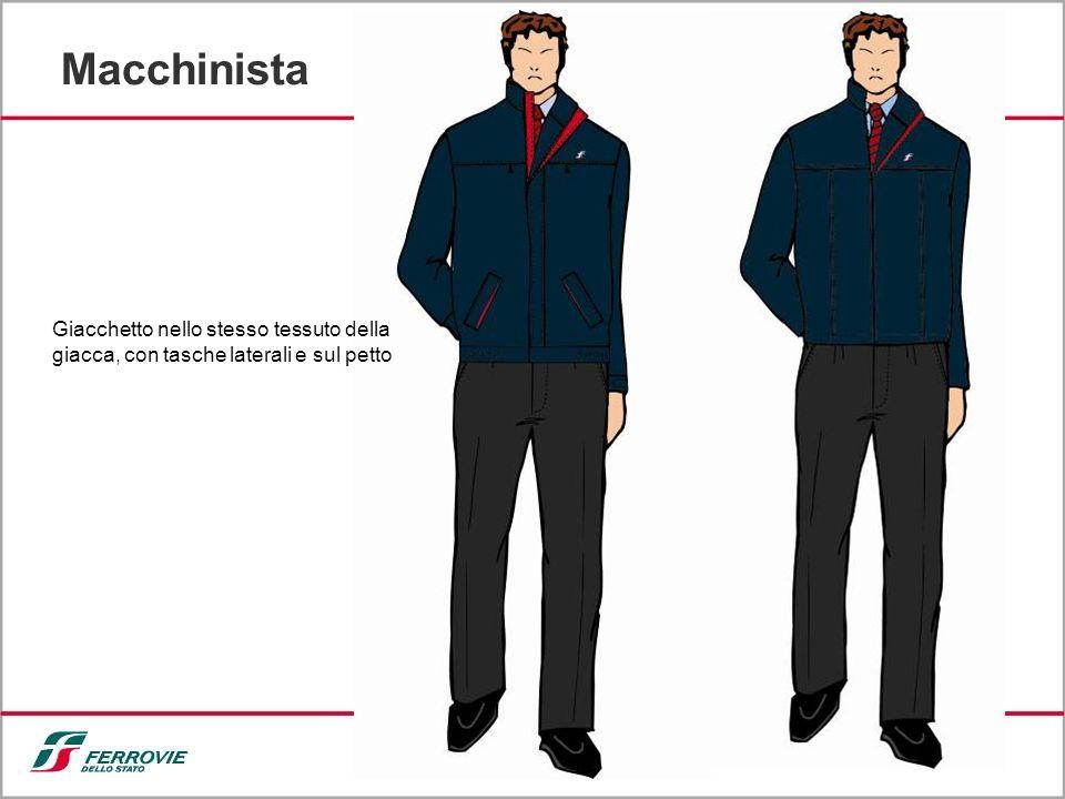 Macchinista Giacchetto nello stesso tessuto della giacca, con tasche laterali e sul petto