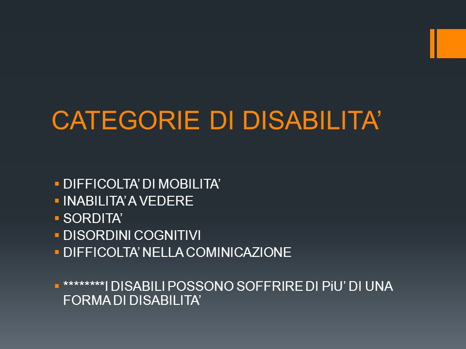 CATEGORIE DI DISABILITA'