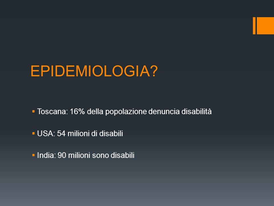 EPIDEMIOLOGIA Toscana: 16% della popolazione denuncia disabilità