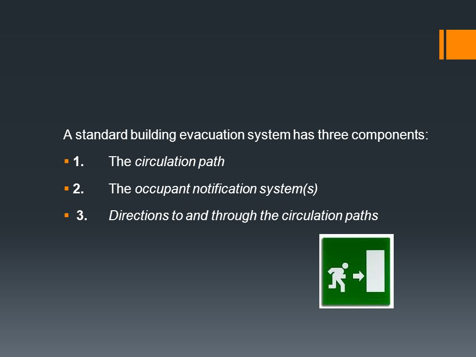 A standard building evacuation system has three components: