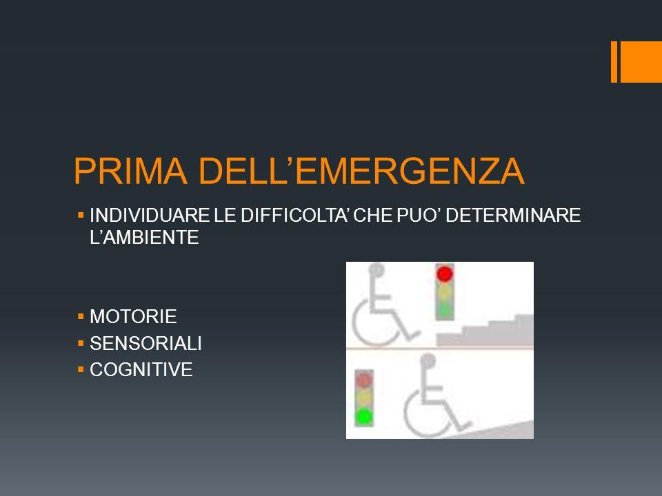 PRIMA DELL'EMERGENZA INDIVIDUARE LE DIFFICOLTA' CHE PUO' DETERMINARE L'AMBIENTE. MOTORIE. SENSORIALI.