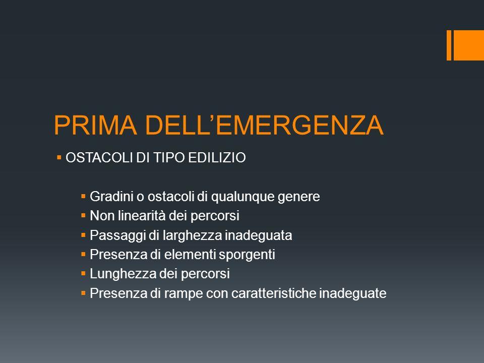PRIMA DELL'EMERGENZA OSTACOLI DI TIPO EDILIZIO