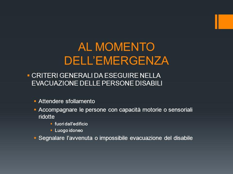 AL MOMENTO DELL'EMERGENZA