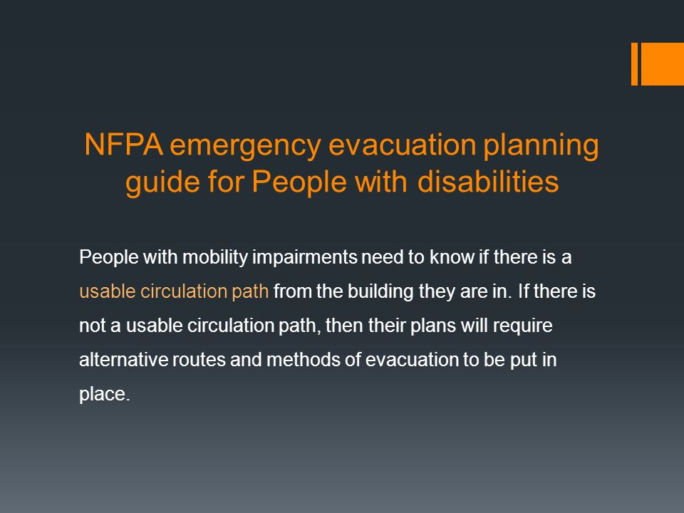NFPA emergency evacuation planning guide for People with disabilities