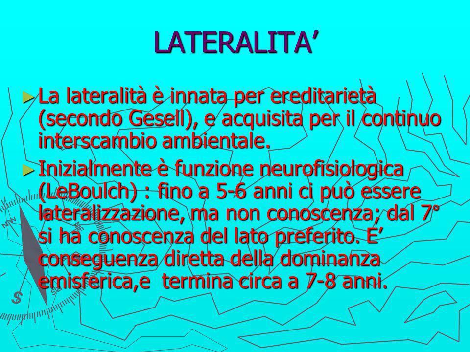 LATERALITA' La lateralità è innata per ereditarietà (secondo Gesell), e acquisita per il continuo interscambio ambientale.